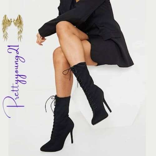 Lace Up Stiletto Sock Boots